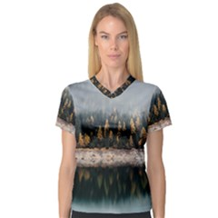 Trees Plants Nature Forests Lake V Neck Sport Mesh Tee