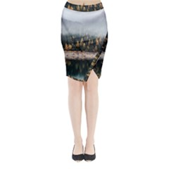 Trees Plants Nature Forests Lake Midi Wrap Pencil Skirt