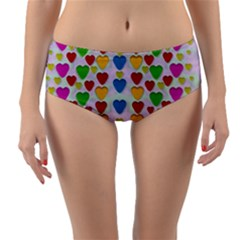 So Sweet And Hearty As Love Can Be Reversible Mid Waist Bikini Bottoms