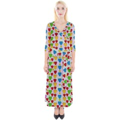 So Sweet And Hearty As Love Can Be Quarter Sleeve Wrap Maxi Dress