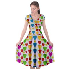 So Sweet And Hearty As Love Can Be Cap Sleeve Wrap Front Dress