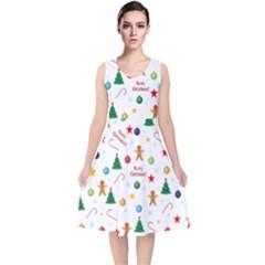 Christmas Pattern V Neck Midi Sleeveless Dress
