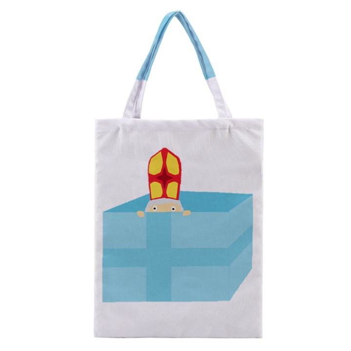 Funny Cute Kids Art St.Nicholas St. Nick Sinterklaas hiding in a Gift Box Classic Tote Bag