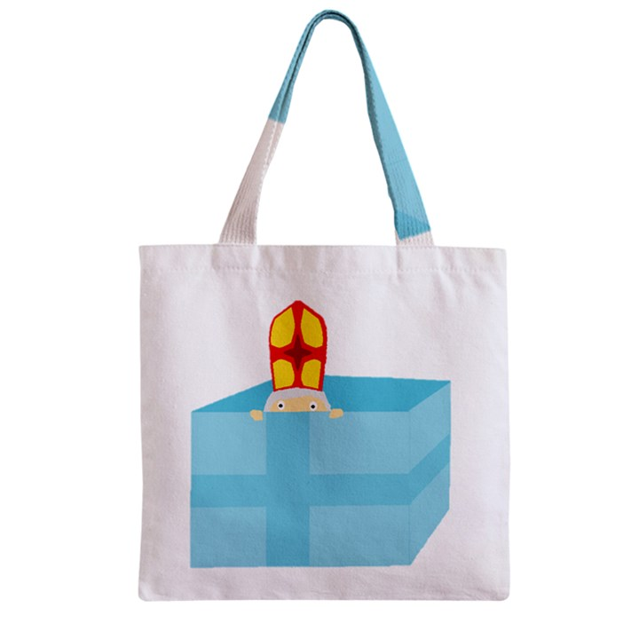 Funny Cute Kids Art St.Nicholas St. Nick Sinterklaas hiding in a Gift Box Zipper Grocery Tote Bag
