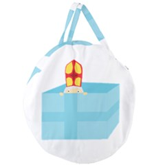 Funny Cute Kids Art St Nicholas St  Nick Sinterklaas Hiding In A Gift Box Giant Round Zipper Tote
