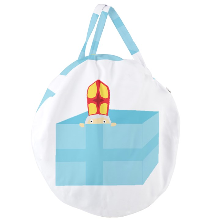 Funny Cute Kids Art St.Nicholas St. Nick Sinterklaas hiding in a Gift Box Giant Round Zipper Tote