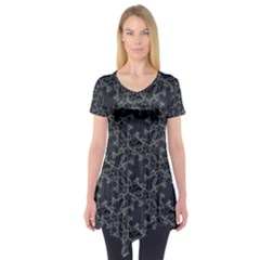 Whirligig Pattern Hand Drawing Grey Short Sleeve Tunic