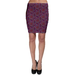 Whirligig Pattern Hand Drawing Red Bodycon Skirt