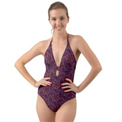 Whirligig Pattern Hand Drawing Red Halter Cut Out One Piece Swimsuit