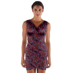 Whirligig Pattern Hand Drawing Red Wrap Front Bodycon Dress