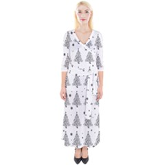 Christmas Tree   Pattern Quarter Sleeve Wrap Maxi Dress