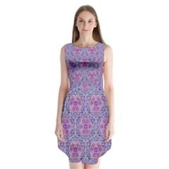 Star Tetrahedron Hand Drawing Pattern Purple Sleeveless Chiffon Dress
