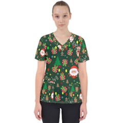 Santa And Rudolph Pattern Scrub Top
