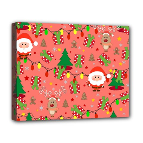 Santa And Rudolph Pattern Deluxe Canvas 20  X 16
