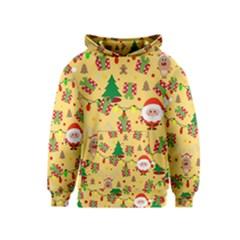 Santa And Rudolph Pattern Kids  Pullover Hoodie