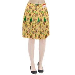 Santa And Rudolph Pattern Pleated Skirt