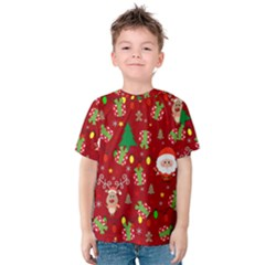 Santa And Rudolph Pattern Kids  Cotton Tee