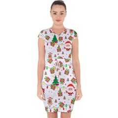Santa And Rudolph Pattern Capsleeve Drawstring Dress