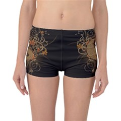 The Sign Ying And Yang With Floral Elements Reversible Boyleg Bikini Bottoms