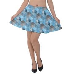 Hexagon Cube Bee Cell  Blue Pattern Velvet Skater Skirt