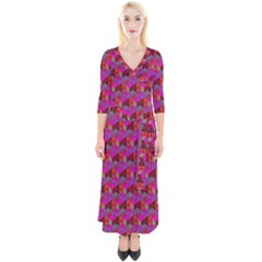 Hexagon Cube Bee Cell  Red Pattern Quarter Sleeve Wrap Maxi Dress