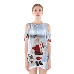 Santa Claus With Funny Penguin Shoulder Cutout One Piece