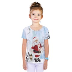 Santa Claus With Funny Penguin Kids  One Piece Tee