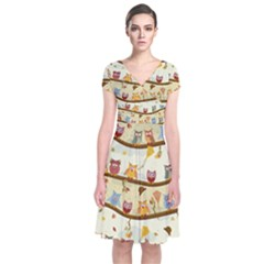 Autumn Owls Pattern Short Sleeve Front Wrap Dress