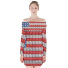 Geometricus Usa Flag Long Sleeve Off Shoulder Dress