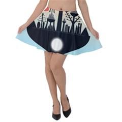 Future City Velvet Skater Skirt