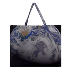 A Sky View Of Earth Zipper Large Tote Bag