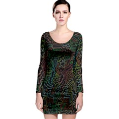 Zigs And Zags Long Sleeve Bodycon Dress