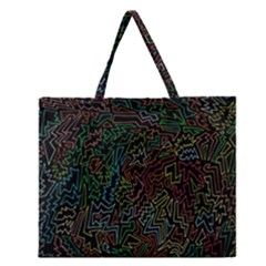 Zigs And Zags Zipper Large Tote Bag