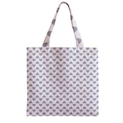 Wave Pattern White Grey Zipper Grocery Tote Bag