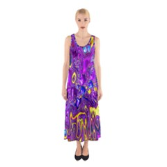 Melted Fractal 1a Sleeveless Maxi Dress