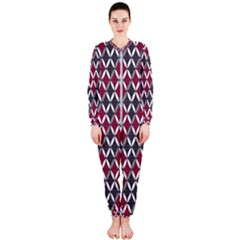 Rhomboids Pattern Red Grey Onepiece Jumpsuit (ladies)