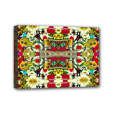 Chicken Monkeys Smile In The Floral Nature Looking Hot Mini Canvas 7  X 5