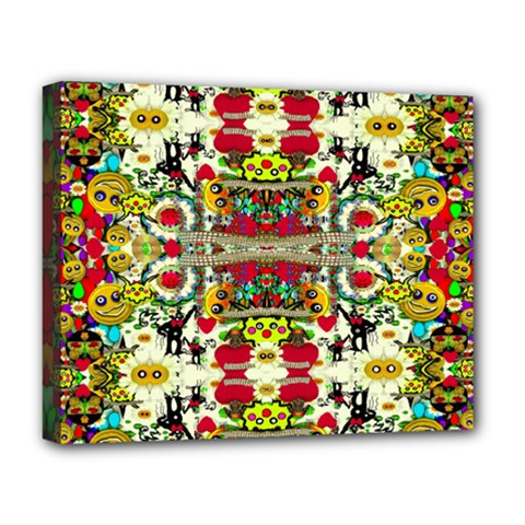 Chicken Monkeys Smile In The Floral Nature Looking Hot Deluxe Canvas 20  X 16
