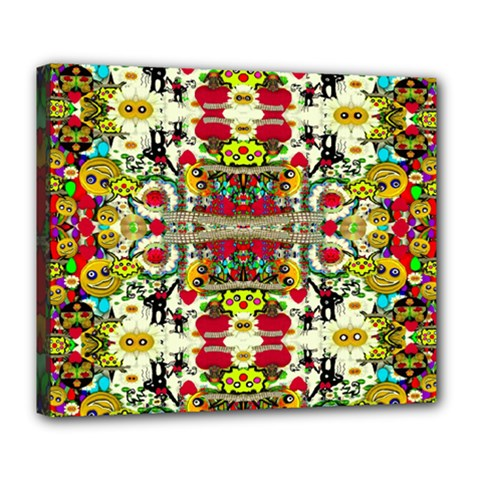 Chicken Monkeys Smile In The Floral Nature Looking Hot Deluxe Canvas 24  X 20