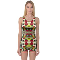 Chicken Monkeys Smile In The Floral Nature Looking Hot One Piece Boyleg Swimsuit