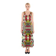 Chicken Monkeys Smile In The Floral Nature Looking Hot Sleeveless Maxi Dress