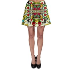 Chicken Monkeys Smile In The Floral Nature Looking Hot Skater Skirt