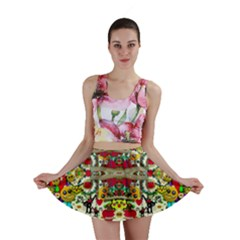 Chicken Monkeys Smile In The Floral Nature Looking Hot Mini Skirt
