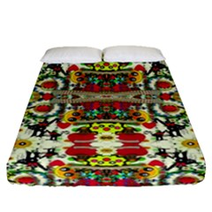 Chicken Monkeys Smile In The Floral Nature Looking Hot Fitted Sheet (queen Size)