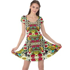 Chicken Monkeys Smile In The Floral Nature Looking Hot Cap Sleeve Dress