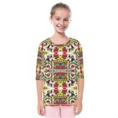 Chicken Monkeys Smile In The Floral Nature Looking Hot Kids  Quarter Sleeve Raglan Tee