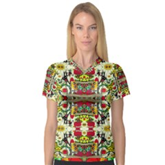Chicken Monkeys Smile In The Floral Nature Looking Hot V Neck Sport Mesh Tee
