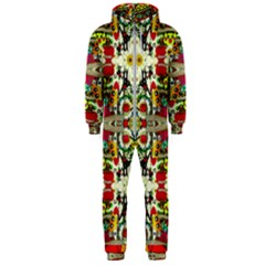 Chicken Monkeys Smile In The Floral Nature Looking Hot Hooded Jumpsuit (men)