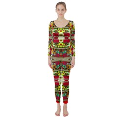 Chicken Monkeys Smile In The Floral Nature Looking Hot Long Sleeve Catsuit