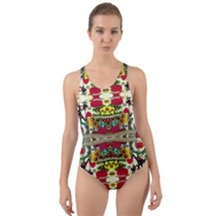 Chicken Monkeys Smile In The Floral Nature Looking Hot Cut Out Back One Piece Swimsuit